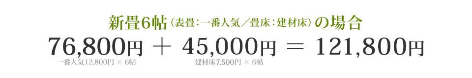 新畳6帖の場合 76,800円+40,800円=117,600円(税込127,008円)